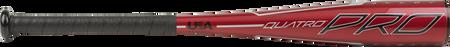 Barrel of a red TBZQ11 Rawlings 2020 Quatro Pro t-ball bat with black/silver accents