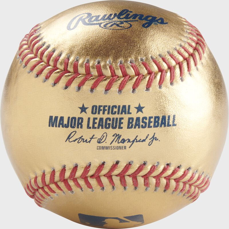 A gold MLB official baseball with red stitching - SKU: RSGEA-GOLD-R