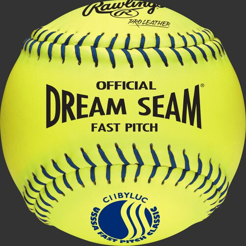 A yellow C11BYLUC USSSA official 11-inch softball with blue stitching