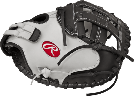 RLACM33 Liberty Advanced 33-inch softball catcher's mitt with a white thumb, black trim and black Modified H web