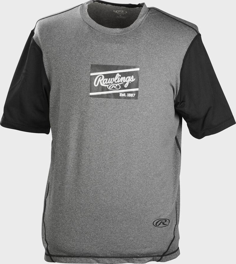 A gray/black Rawlings adult Hurler performance short sleeve shirt with a black Rawlings logo on the chest - SKU: HSSP-GR/B