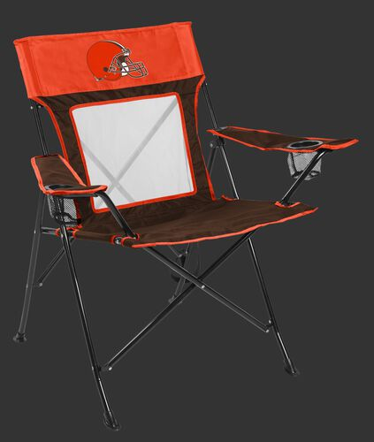Front of Rawlings Orange and Brown NFL Cleveland Browns Game Changer Chair With Team Logo SKU #00651064111