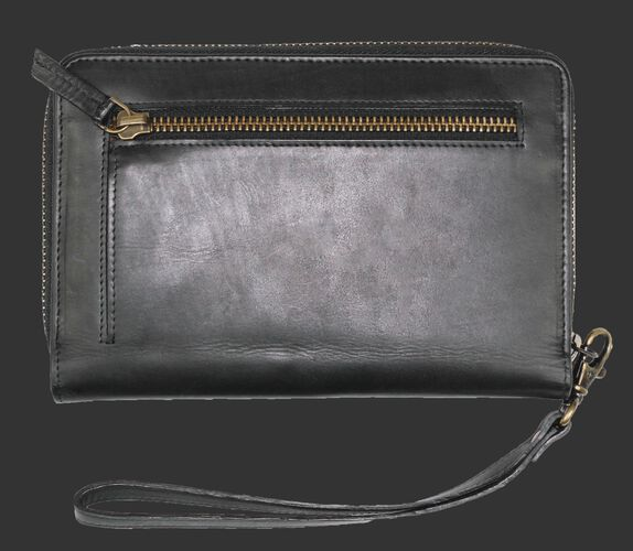 Back of Rawlings Black Baseball Stitch iPhone Zip Wallet With Zip Pocket SKU #RW80000-001