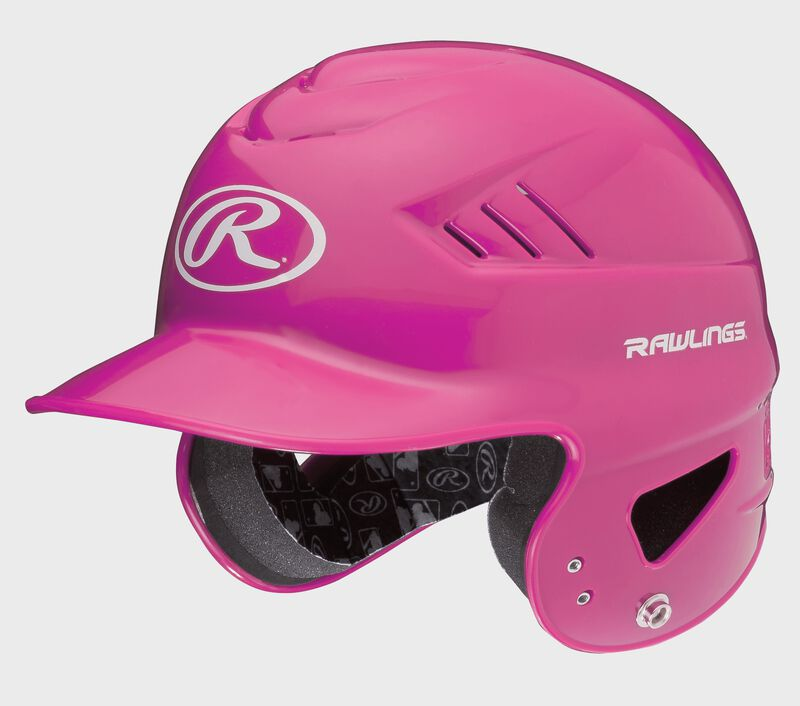 A pink RCFTB Coolflo T-ball batting helmet with a white Oval R logo