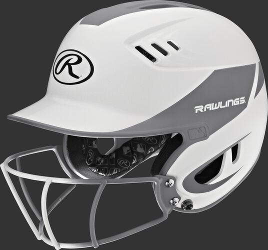 A white/silver R16H2FGS Velo junior batting helmet with a white/silver facemask