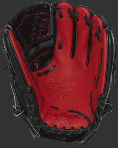 PRO205-30JP Rawlings Heart of the Hide Japan glove with a scarlet palm, black web and black laces