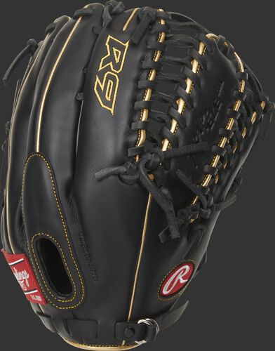 Black back of a R9 12.75-Inch Trap-Eze web outfield glove with a Fastback design - SKU: R96019BGFS