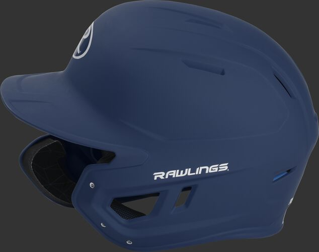 Left side of a MACHEXTL senior Rawlings batting helmet with a one-tone matte navy shell