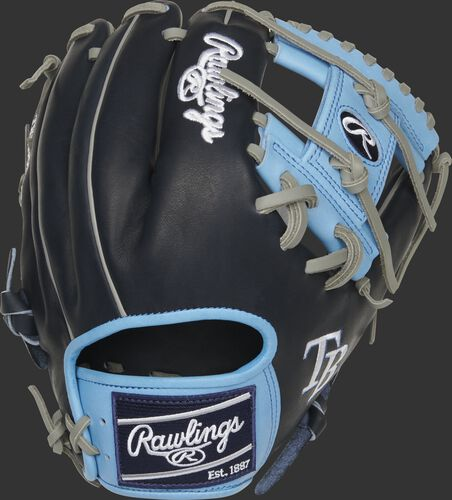 Back of a navy/Columbia blue Tampa Bay Rays Heart of the Hide I-web glove with a navy Rawlings patch - SKU: RSGPRO204-2TB