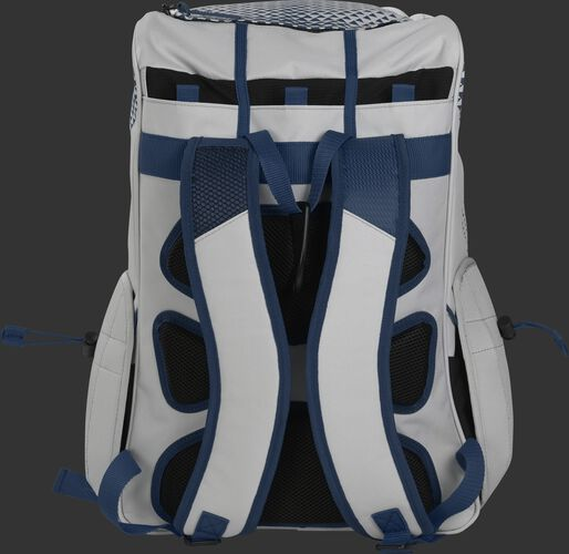 Back of a white/navy R800 Rawlings fastpitch backpack with black back padding and white shoulder straps