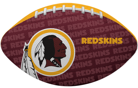 Red side of a NFL Washington Redskins Gridiron football with the team logo