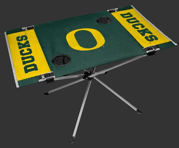 NCAA Oregon Ducks Endzone table featuring team colors, team logos and has two cup holders SKU #04053095111