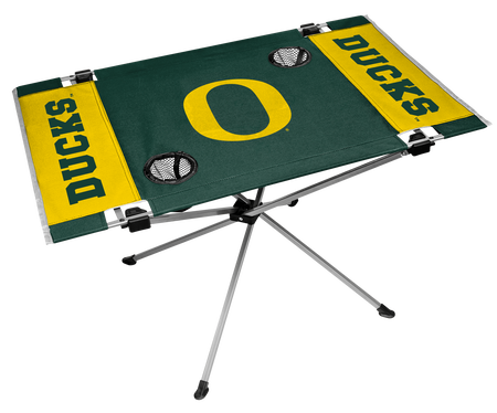 NCAA Oregon Ducks Endzone table featuring team colors, team logos and has two cup holders