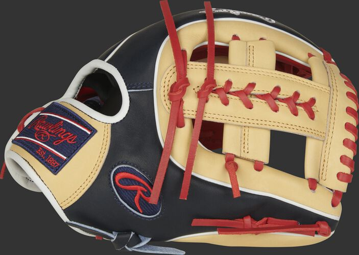 Thumb of a camel/navy 2021 11.5-Inch Heart of the Hide infield glove with a camel Laced Single Post web - SKU: PRO314-19SN