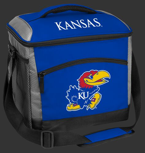 A blue Kansas Jayhawks 24 can soft sided cooler with screen printed team logos - SKU: 10223034111