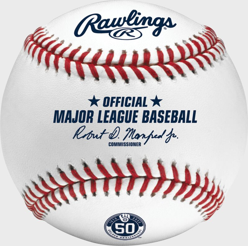 A MLB 2020 Milwaukee Brewers 50th Anniversary baseball with the official Major League Baseball stamp - SKU: ROMLBMB50