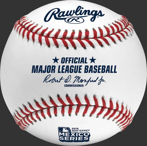 A ROMLBMS19 MLB 2019 Mexico Series baseball with the Official Ball stamp and league commissioner's signature