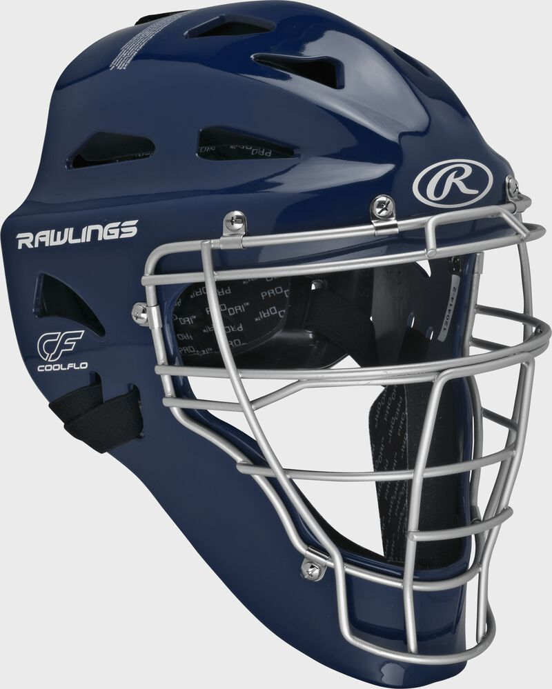 Navy Cool-Flo adult catcher's helmet with silver cage