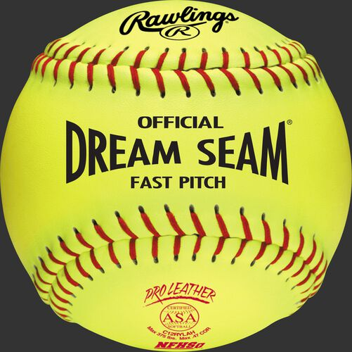 "A C12RYLAH ASA NFHS Official 12"" Dream Seam softball with red stitching"