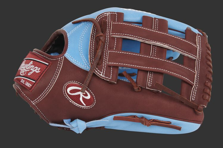 Thumb of a maroon/columbia blue exclusive Heart of the Hide 13-Inch outfield glove with a maroon H-web glove - SKU: PRO3039-6CBM