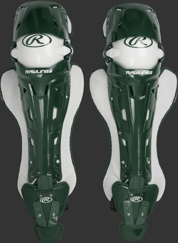 A pair of dark green Rawlings Mach catcher's leg guards with white accents - SKU: MCHLGI-DG