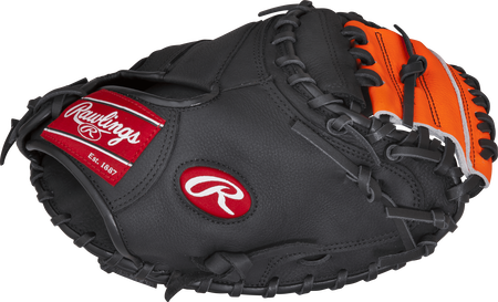 PCM30T Player Preferred 33-inch catcher's mitt with a black thumb and orange One-Piece Solid web