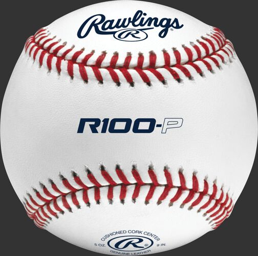 A Rawlings high school practice baseball with R100-P in the middle and Rawlings logo on top - SKU: R100-P