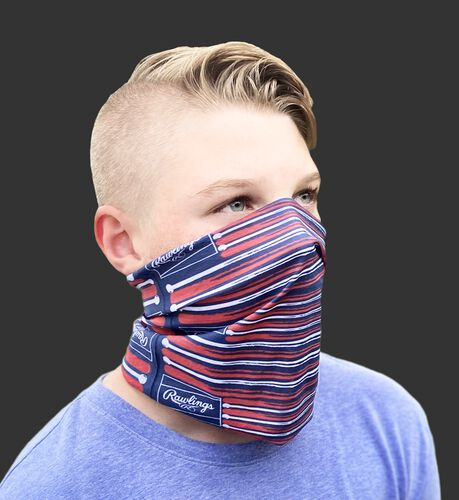 A kid wearing a flag & bats youth multi-use neck gaiter over his mouth and nose - SKU: YRC40003-999