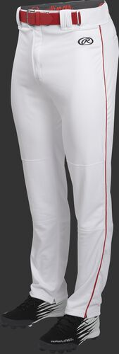 Front of Rawlings White/Scarlet Youth Launch Semi-Relaxed Piped Baseball Pant - SKU #YLNCHSRP