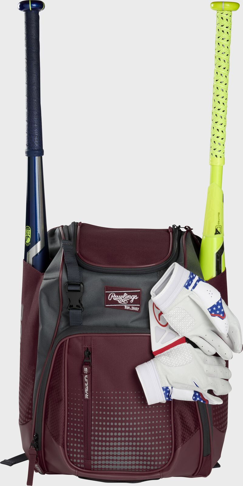 A maroon Franchise backpack with two bats in the sides and batting gloves on the front Velcro strap - SKU: FRANBP-MA