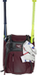 A maroon Franchise backpack with two bats in the sides and batting gloves on the front Velcro strap - SKU: FRANBP-MA image number null