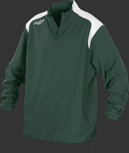 Front of Rawlings Dark Green Youth Long Sleeve Quarter-Zip Jacket - SKU #YFORCEJ-B-89