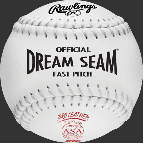 A white C12WLAH ASA NFHS official Dream Seam softball with white stitching