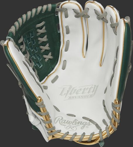 RLA125-18DG Rawlings Liberty Advanced Color Series glove with a white palm and gray laces