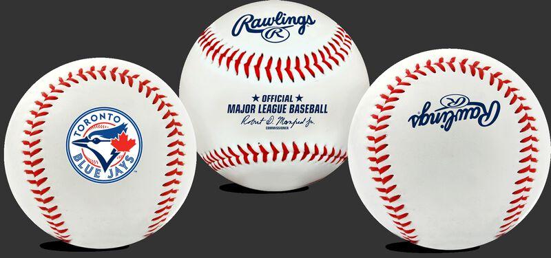 3 views of a MLB Toronto Blue Jays baseball