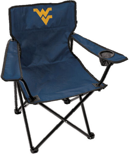Front of Rawlings Blue NCAA West Virginia Mountaineers Bulldogs Gameday Elite Chair With Team Logo SKU #00563114111