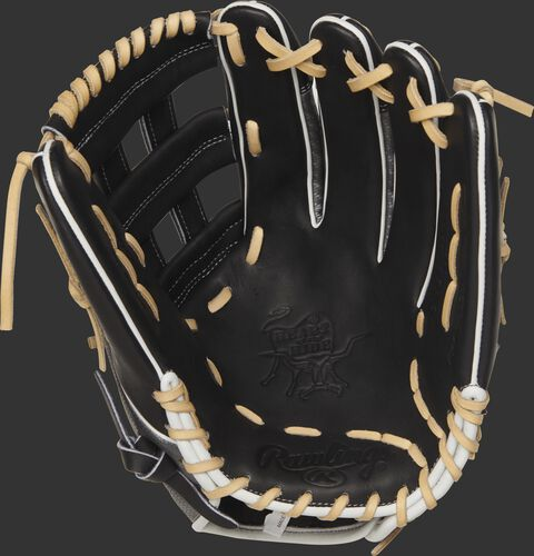 PRO3039-6BCF Rawlings 12.75-inch Hyper Shell outfield glove with a black palm and camel laces