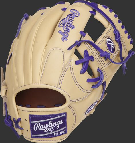 Camel back of a Rawlings Heart of the Hide Trevor Story infield glove with a purple Rawlings patch - SKU: RSGPRONP4-2TS