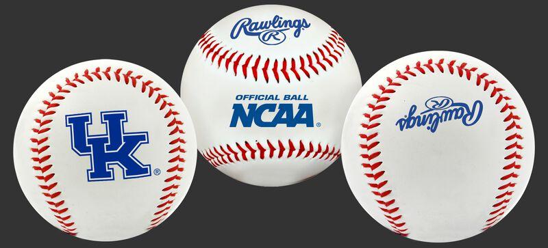 3 views of a NCAA Kentucky Wildcats baseball with a team logo, NCAA logo and Rawlings logo