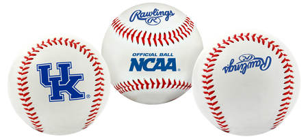 3 views of a NCAA Kentucky Wildcats baseball with a team logo, NCAA logo and Rawlings logo