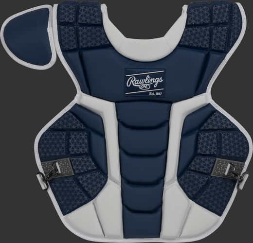 Front of a navy CPMCN Rawlings Mach chest protector with Arc Reactor Core