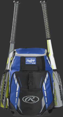 A royal R400 youth players team backpack with a bat in each of the side compartments
