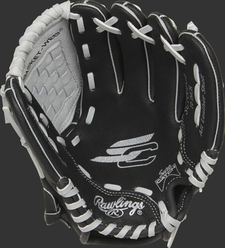 SC100BGB Rawlings Sure Catch youth glove with a black palm and grey laces