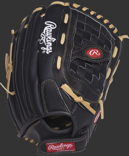 RSS140C 14-inch Rawlings Softball Series outfield glove with a black back and black Velcro wrist strap