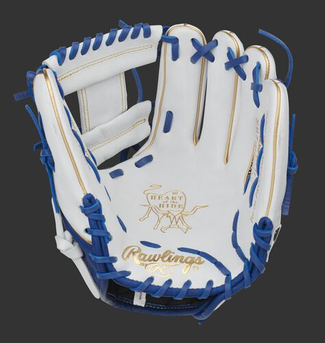 White palm of a Heart of the Hide infield glove with a white I-web and royal laces - SKU: PRO204W-2WR