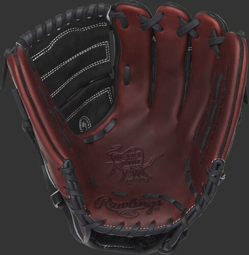 Burgundy palm of a Rawlings Heart of the Hide infield/pitcher's glove with black laces and black web - SKU: PRO1000-9PBM
