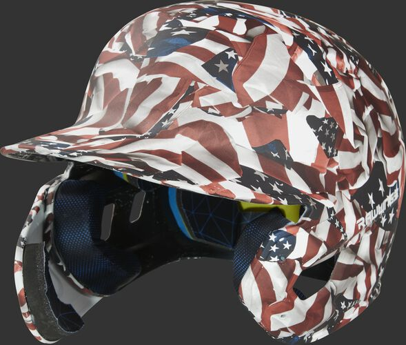 Front left of a MACHEXTL-USA USA hydro dipped Mach EXT helmet for left hand batters