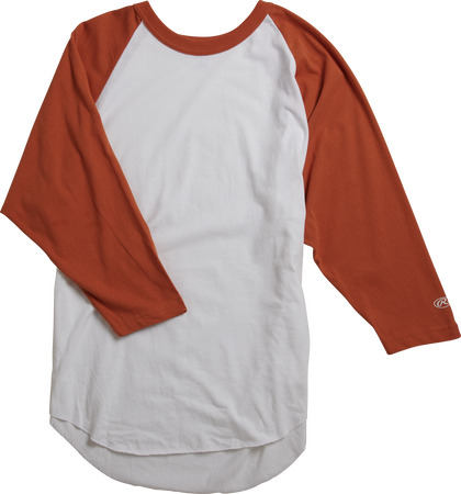 MTT3000 Adult 3/4 sleeve crew neck shirt with a white body and burnt orange sleeves