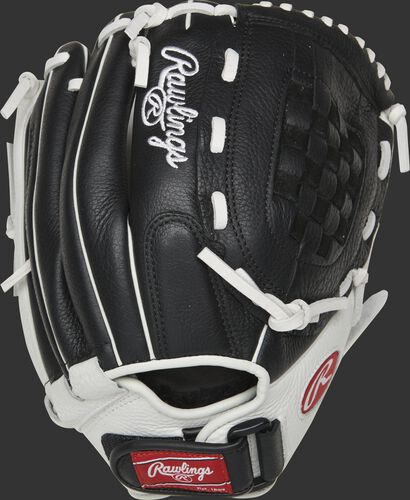 Back of a black RSO120BW 12-inch Shut Out softball glove with a Velcro wrist strap