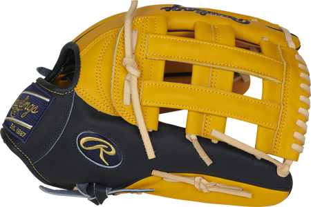 Thumb of a gold tan PROBH3-6GT Heart of the Hide 12.75-inch outfield glove with a navy thumb and gold tan H-web